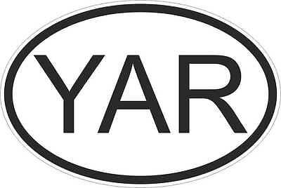 YAR Yemen COUNTRY CODE OVAL WITH FLAG STICKER bumper decal car bike tablet