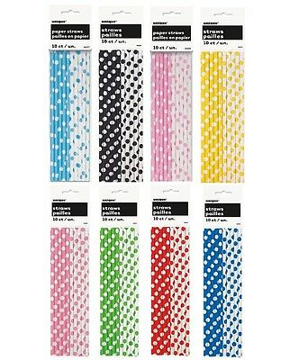 Polka Dots 10 Paper STRAWS - Spots Spotty Birthday Party Baby Shower Supplies