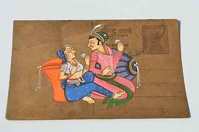 Nice Old Rajasthan Miniature Painted Indian Postcard Of Valentine Lovers No 167