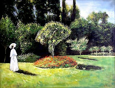 Claude Monet Jeanne in the Garden Repro, Hand Painted Oil Painting 36x48in