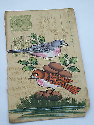 A Lovely Old Rajasthan Miniature Painted Indian Postcard Of Pair Of Birds No 171
