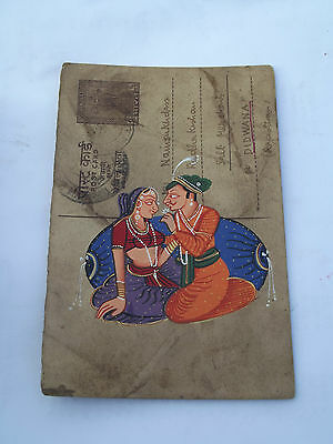 Nice Old Rajasthan Miniature Painted Indian Postcard Of Valentine Lovers No 172