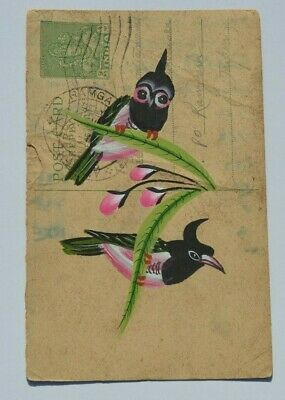 A Lovely Old Rajasthan Miniature Painted Indian Postcard Of 3 Birds No 173