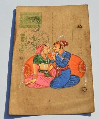 Nice Old Rajasthan Miniature Painted Indian Postcard Of Valentine Lovers No 180