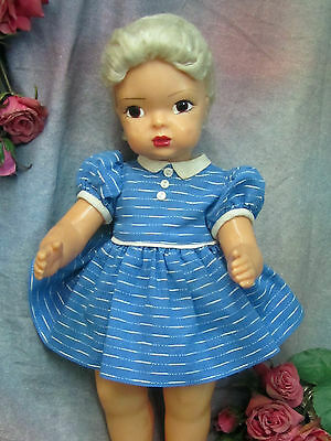 "VINTAGE original 1950 Terri Lee 16"" DOLL CLOTHES blue stripe DRESS & PANTIES"