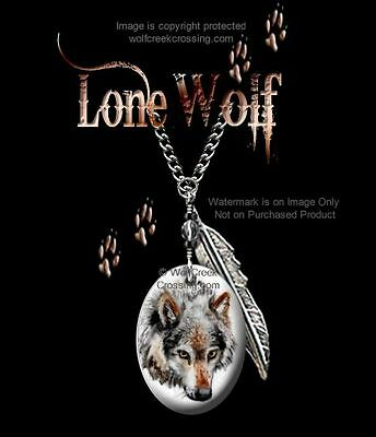 "Lone Wolf Necklace - Western Wildlife Art - Wild Wolves - 24"" Chain - Free Ship*"