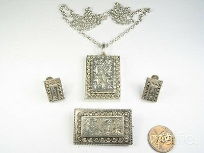 Antique English Victorian Period Silver Necklace Locket Brooch & Earrings Set