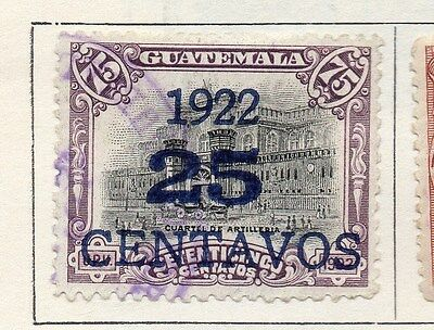 Guatemala 1922 Early Issue Fine Used 25c. Surcharged 118680