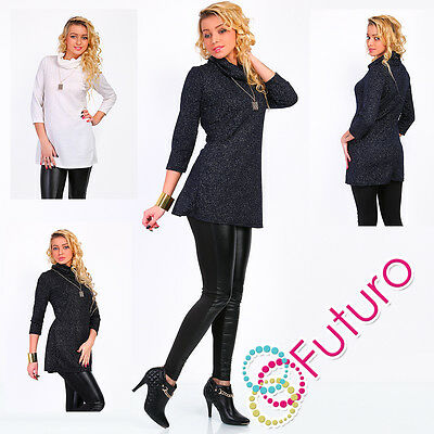Ladies Elegant Tunic With Necklace Cowl Neck Mini Dress Jumper Top Size 8-12 W1