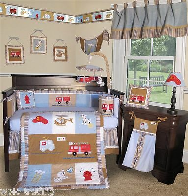Baby Boutique - Fire Truck - 14 pcs Crib Bedding Set incl. Lamp Shade