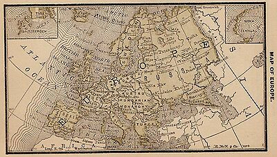 RARE Antique EUROPE Map 1887 MINIATURE Vintage Map Italy Hungary Germany