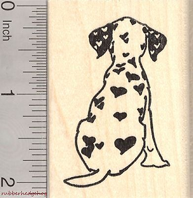 Valentine's Day Dalmatian Rubber Stamp, Dog with Heart Shaped Spots  H26702 WM