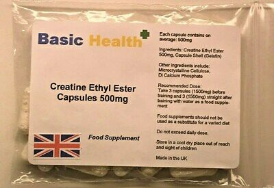 Creatine Ethyl Ester x 120 1500mg per Serving Capsules Muscle Growth Strength