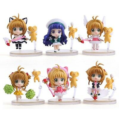 Cardcaptor Sakura 6pcs a Set Mini PVC Figure with Base #A NO Box