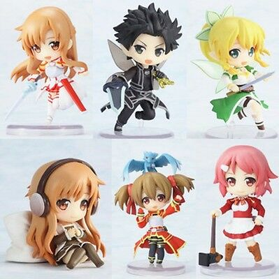 Sword Art Online Asuna Kirito Leafa Shirika Lisbet 6pcs Cute Figure Set NO Box