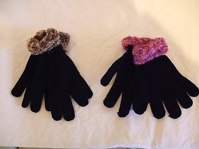 NEW One Pair Black with Feux Fur  Gloves