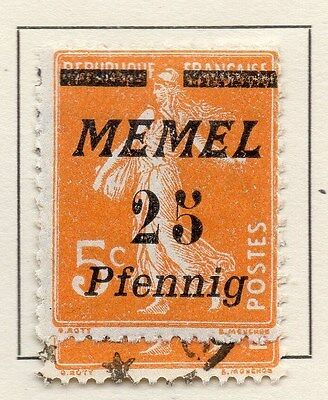Memel 1922 Early Issue Fine Mint Hinged Surcharged 25pf. 120044