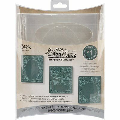 Sizzix Tim Holtz Alterations Collection 3 Pack Embossing Diffuser Set # 1, New