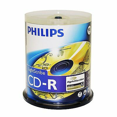 Philips LightScribe CD-R 52X 80Min 100PK Spindle, New, Free Shipping