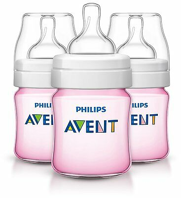 Philips AVENT Classic Plus BPA Free Polypropylene Bottles, Pink, 4 Ounce (Pack