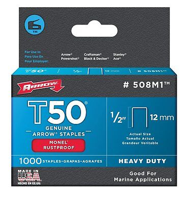 Arrow 508M1 Genuine T50 Monel Rustproof 1/2- Inch Staples, 1,000-Pack, New