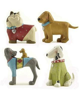 Blossom Bucket Four Dog Figurines 4 Figures 86561 Red & Blue Collars