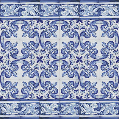 Portuguese Handmade Painted Clay Azulejos Tiles REPETITIVE BLUE BAROQUE / M2