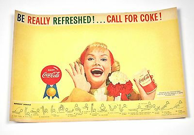 Schöne Coca Cola Coke USA 1960er Unterlage mit Basketball Sport Program
