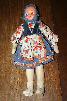 """Vintage Souvenir Doll Stamped Poland- Cloth Body, Thin Composition Face 14"""""""