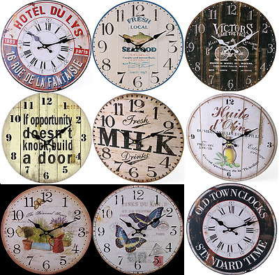 Retro Vintage Shabby Chic French Kitchen / Home Wall Clock.new + Box 11 Designs