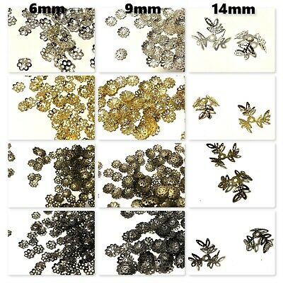 200 Pcs 9mm Flower Metal Bead Caps  - Various Colour