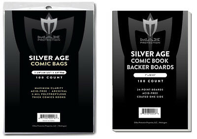 1000 MAX THICK Silver Comic NON-RESEALABLE Poly Bags + Acid Free Backer Boards