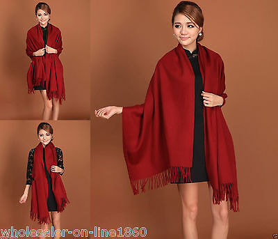 New Women 100% Cashmere Scarves Solid Color Shawl Wrap Long Scarf Stole burgundy