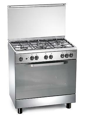 Stainless steel gas cooker 80x50x85 cm with 5 burners and oven - Regal RC855MX