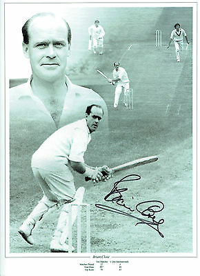 Brian CLOSE Signed Autograph 16x12 ENGLAND Cricket Montage Photo AFTAL COA