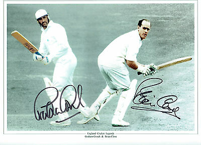 Brian CLOSE & Graeme GOOCH Signed Autograph HUGH 16x12 Cricket Photo AFTAL COA