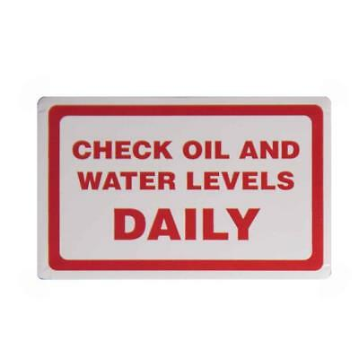 CHECK OIL AND WATER DAILY.... - Vehicle Check Reminder Car Sticker