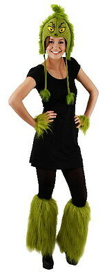 Dr. Seuss How The Grinch Stole Christmas Grinch Costume Fuzzy Leg Warmers UNWORN