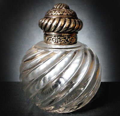 Wonderful Large Hallmarked Silver Mounted Scent Bottle