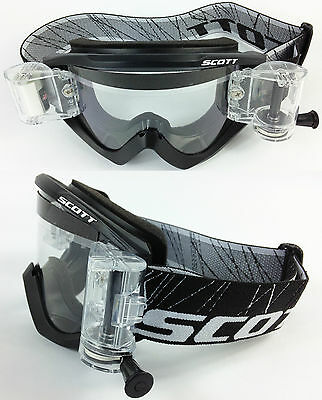 SCOTT RECOIL XI MOTOCROSS MX GOGGLES BLACK with GSVS ROLL-OFF SYSTEM NEW