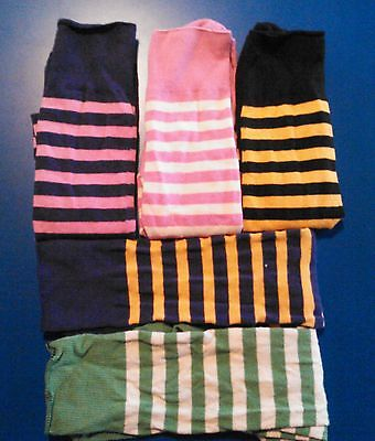 Ladies STOCKINGS - 5 pair stripe socks - Lycra-Cotton - NEW -- FREE SHIPPING
