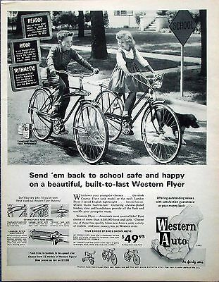 1963 Western Auto Western Flyer Bicycle Bikes Kids Riding Dog ad