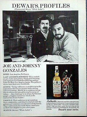 1975 Dewars White Label Joe Johnny Gonzales Art Gallery Los Angeles ad