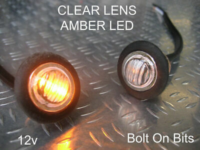 Button 12v Amber LED CLEAR Side Indicator PAIR light/Repeater/kit car westfield