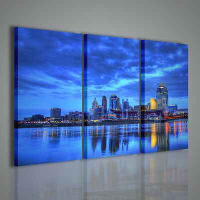 Quadri Moderni Night Blu City Quadro Moderno Stampa Su Tela Citta' Canvas Print