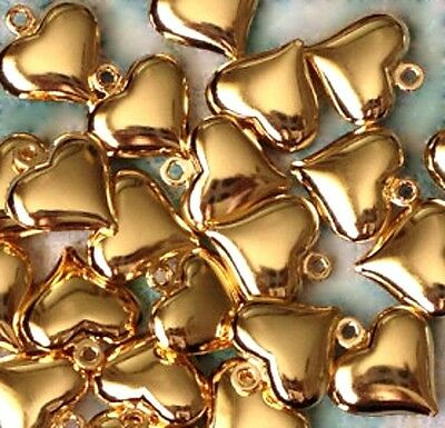 Gold Heart Charms Puffed 3-D Jewelry Lot of 20