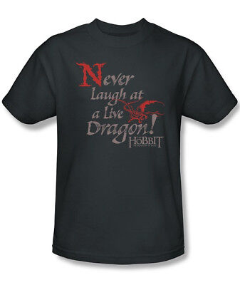 The Hobbit Never Laugh At A Live Dragon Quote T-Shirt, Lord of the Rings 3X NEW
