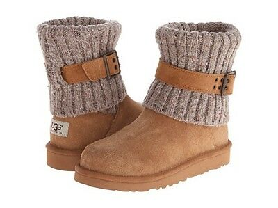 acaea753e90 NEW! UGG AUSTRALIA Cambridge Chestnut Buckle 1006811 Youth Classic Knit Boot