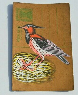 A Lovely Old Rajasthan Miniature Painted Indian Postcard Of Three Birds No 170