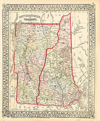 1872 Hand Colored Mitchell Map of NEW HAMPSHIRE & VERMONT - Detailed